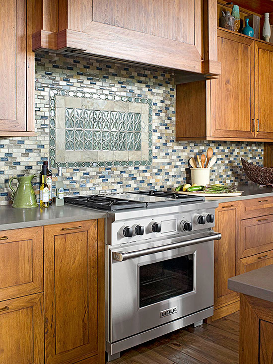 Limestone And Crushed Glass Tiles In Blue, Neutral, And Green Shades Add A  Bit Of Sparkle And Resemble The Earth And Skies.